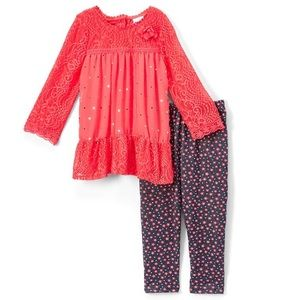 Coral & Charcoal Floral dot tunic & leggings set